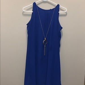 Royal blue, loose dress with attached necklace